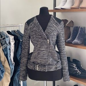 Forever 21 Tweed Jacket W/ Faux Leather Detail